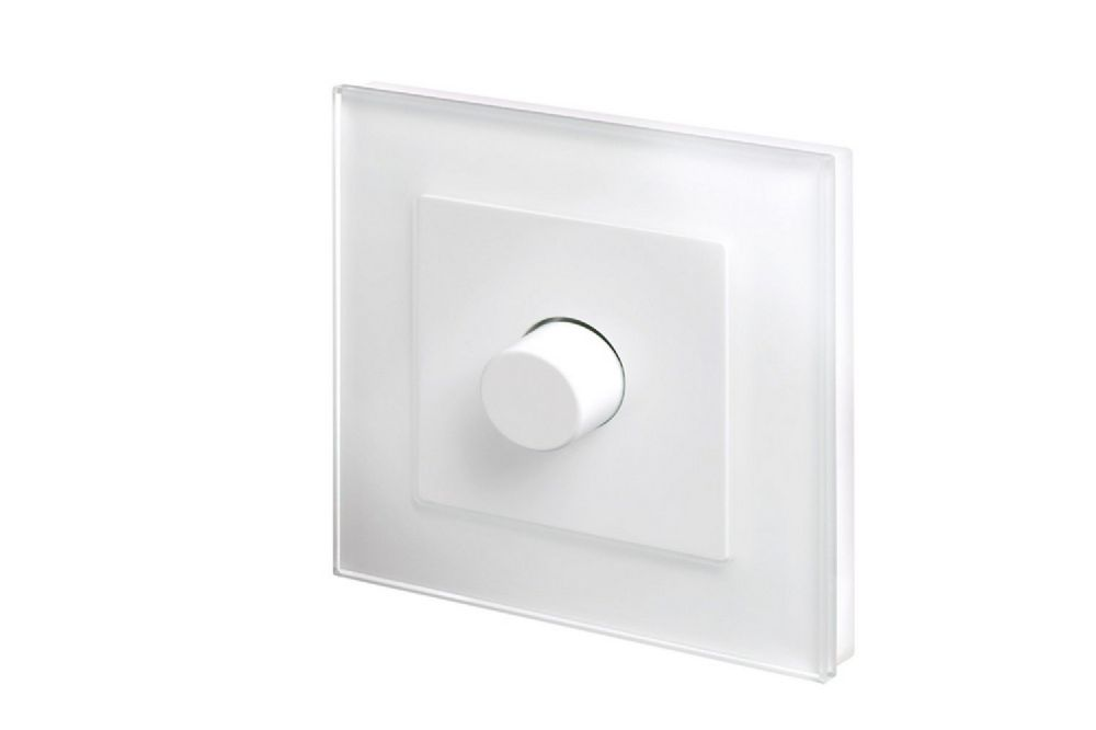 RetroTouch 1 Gang 2 Way Dimmer Switch 3-200W LED & Halogen White Glass PG 02042